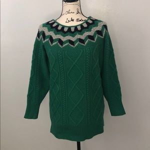 J. Crew Collection wide neck Fair Isle Sweater